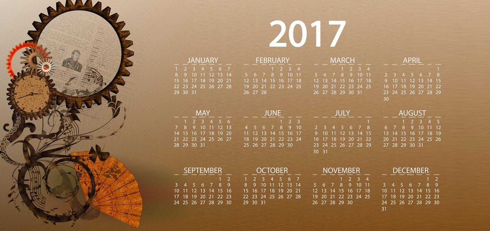 Обои рабочего стола календарь январь 2017