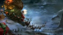 Christmas Art flying santa wallpaper
