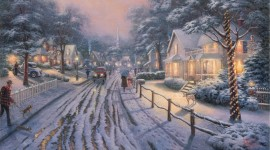Christmas Art painting winter snow high quality