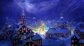Christmas Art snowy town wallpaper