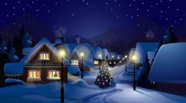 Christmas Art village painting wallpaper
