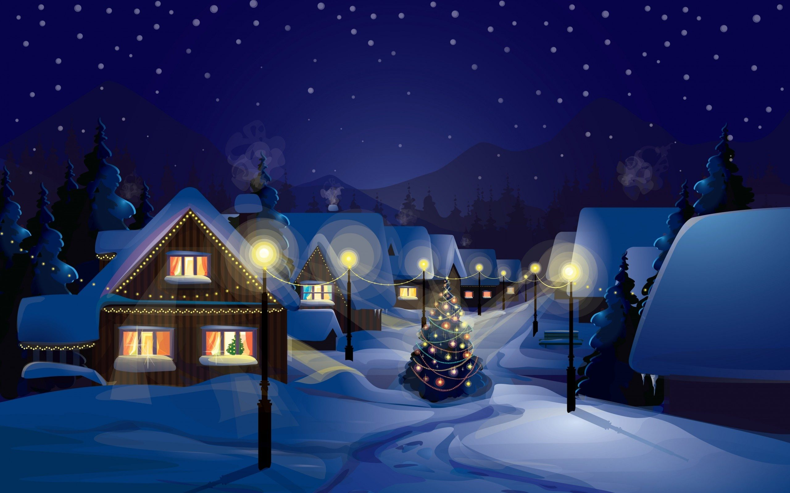 Christmas art wallpapers high quality download free - Art village wallpaper ...