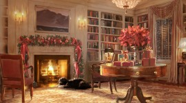 Christmas Fireplace 4k painting wallpapers