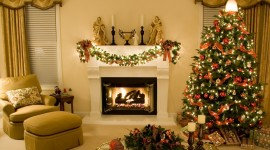 Christmas Fireplace celebration interior photos
