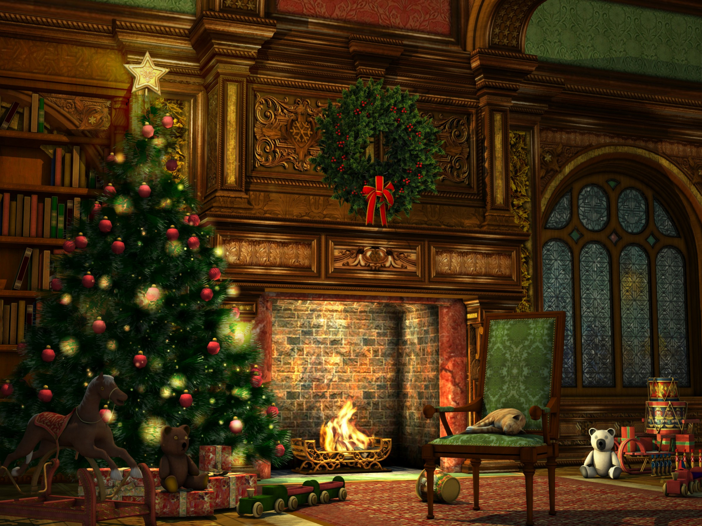 christmas fireplace wallpapers high quality download free. Black Bedroom Furniture Sets. Home Design Ideas