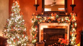Christmas Fireplace garland lights on decor gallery