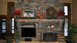 Christmas Fireplace stone decorated 8k High Resolution wallpaper