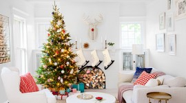 Christmas Fireplace white decoration wallpaper