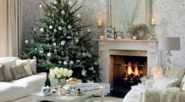 Christmas Fireplace white widescreen decor