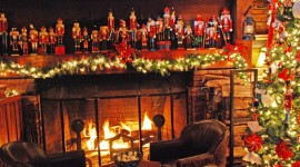 Christmas Fireplace wide photos