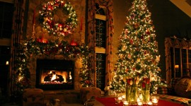 Christmas Fireplace widescreen background