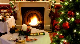 Christmas Fireplace decoration wine UHD wallpaper