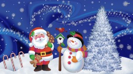 Christmas SnowMan and Santa wallpaper