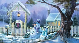 Christmas SnowMan art Full HD wallpapers