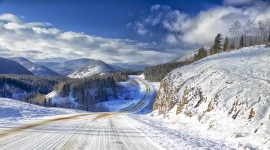 Road Winter Desktop Wallpaper For PC