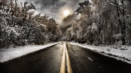 Road Winter Desktop Wallpaper HQ