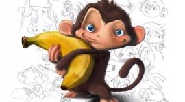Monkey With Banana Image
