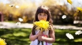 Children With Flowers Desktop Wallpaper