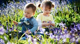 Children With Flowers Photo