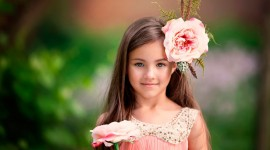Children With Flowers Wallpaper Free