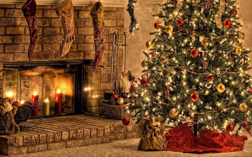 4K Christmas Fireplaces wallpapers HD