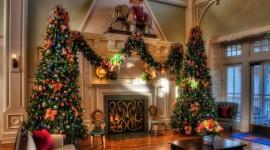 4K Christmas Fireplaces Desktop Wallpaper