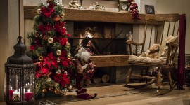 4K Christmas Fireplaces Photo