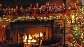 4K Christmas Fireplaces Photo Free