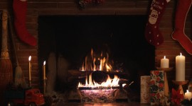 4K Christmas Fireplaces Wallpaper