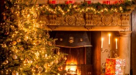 4K Christmas Fireplaces Wallpaper For Mobile