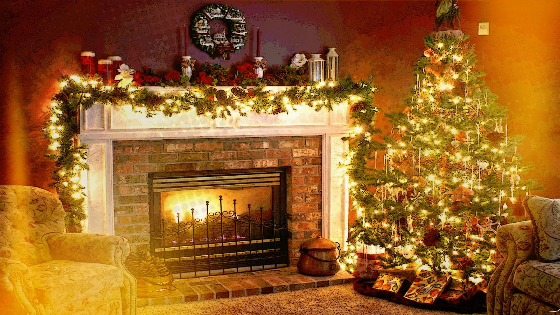 4K Christmas Fireplaces download wallpapers free HD