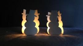 Candle Snowman Desktop Wallpaper HD
