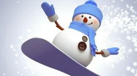 Snowman Skiing Wallpaper 1080p