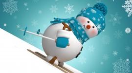Snowman Skiing Wallpaper Free