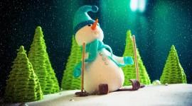 Snowman Skiing Wallpaper Full HD