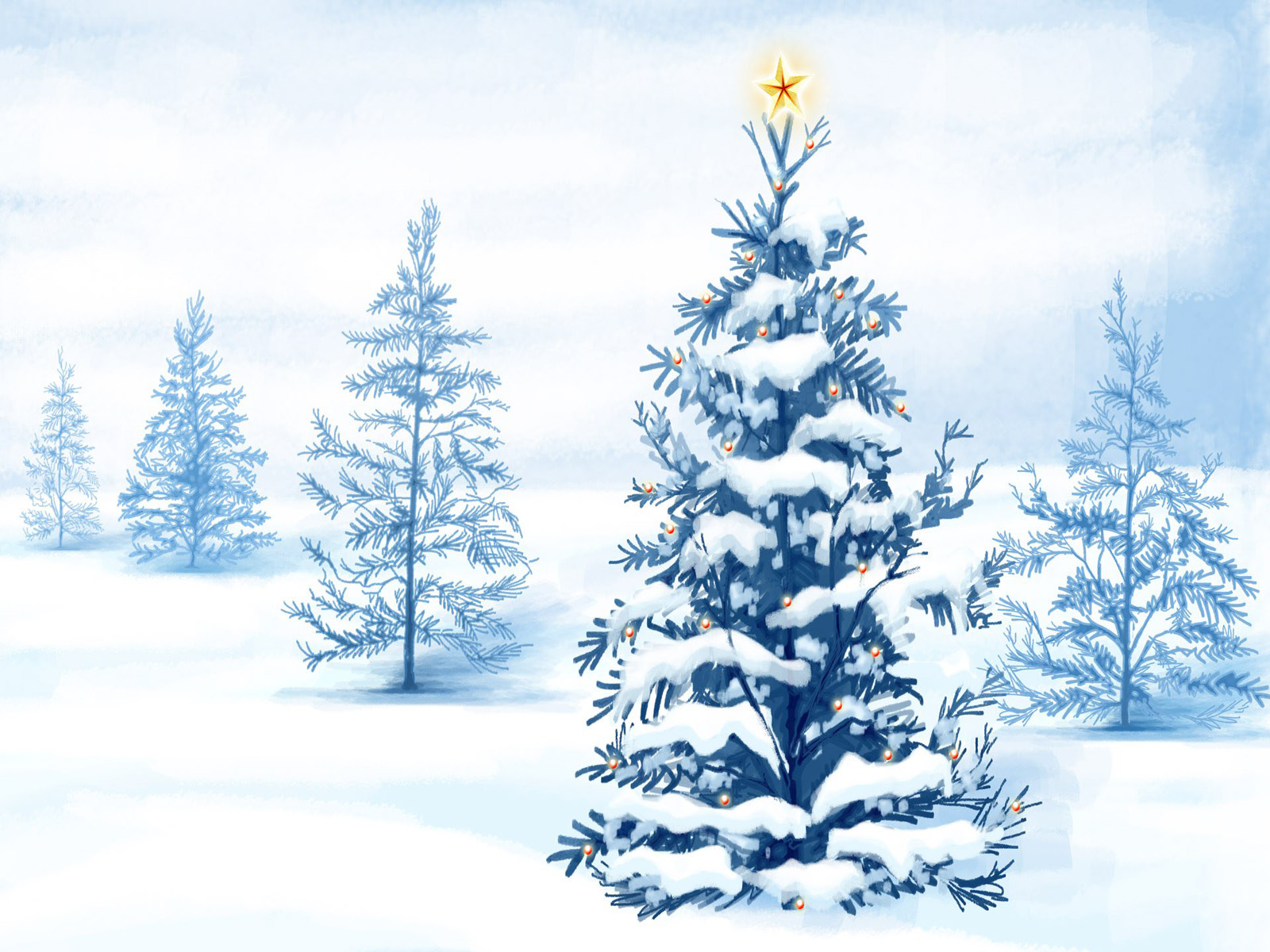White Christmas Trees Wallpapers