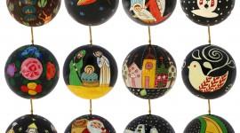 Black Christmas Balls Wallpaper Background