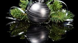 Black Christmas Balls Wallpaper Download