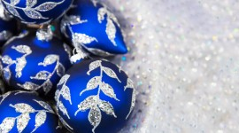Blue Christmas Balls Desktop Wallpaper HD