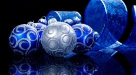 Blue Christmas Balls Photo Free