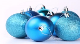 Blue Christmas Balls Photo Free#1