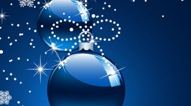Blue Christmas Balls Wallpaper For IPhone