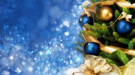 Blue Christmas Balls Wallpaper For PC