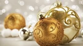 Gold Christmas Balls Desktop Wallpaper HD