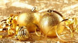 Gold Christmas Balls Wallpaper Full HD