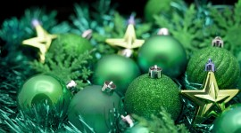 Green Christmas Balls Wallpaper For PC
