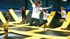 Jumping On The Trampoline High Quality Wallpaper