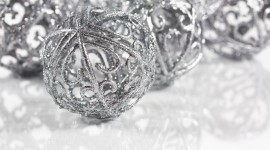 Silver Christmas Balls Wallpaper For PC