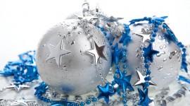 Silver Christmas Balls Wallpaper Full HD