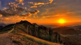 Sunset In The Mountains Wallpaper